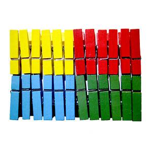 MINI PINCES A LINGE EN BOIS 4 COULEURS 35mm LOT DE 24