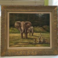 "Original Oil Painting on Canvas African Elephants, Framed, 23 1/2"" x 19"" (Image)"