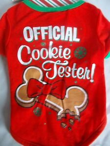 """Dog Red Official Cookie Tester! Christmas Pet T-Shirt Holiday Small 11-12"""" Bone"""