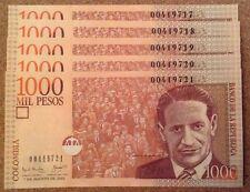 Lote de 5 X Columbia billetes. 1000 Pesos. Uncirculated. publicaciones seriadas consecutivos.