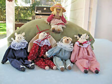Set Of 5 Clothespin Dolls -Pig, Rabbit, Cow, Dog & Country Girl. Fully Dressed