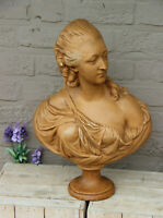 Antique French chalkware Bust statue of Maria Antoinette 1920s