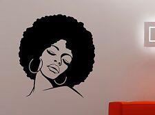 African Woman Wall Decal Glamour Girl Face Vinyl Sticker Afro Art Office Decor 1
