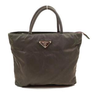PRADA Mini Handbag Khaki Triangle Logo Nylon