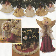 CHRISTMAS HOME DECORATIONS Tree Skirt Angel Stocking Topper UNCUT Sewing Patten