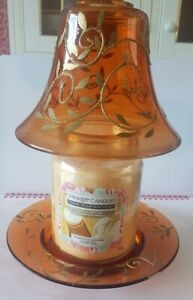 Vintage Yankee Candle Large Bottle Glass Shade & Tray ~  amber & gold