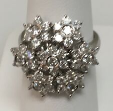 18k White Gold Spinner Ring Diamonds .79 ct. G/VS Made In Italy
