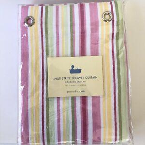 New Pottery Barn Kids Shower Curtain Pastel Multi Stripe Pink Yellow Green