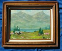 VTG Oil Painting CABIN Lake MOUNTAIN Framed WALL Art ARTIST SIGNED Landscape