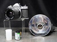Vintage Asahi Pentax K1000 SE 35MM SLR Film Camera + 35-75mm Lens & More