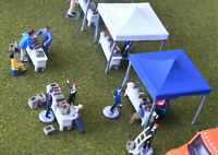 HO, farmer's market scene, 2 tents, 4 tables, 14 crates, 34 pc., Scale 1:87