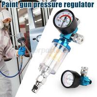 Air Pressure Regulator Gauge Spray Gun Water Trap Oil Filter Separator Valve ❥
