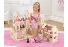 Chateau de princesse maison de poupée en bois 4 poupées en bois + chevaux 65259