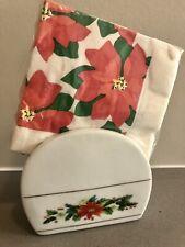 Vintage Royal Norfolk Poinsettia Napkin/Letter Holder & Unopened Napkins