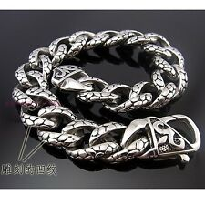 "Men's Cuff Bracelet FINE Quality Silver Stainless steel Cuban Retor Chain 8.66"""