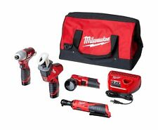 Milwaukee 2498 25 Cordless Combo Kit 12V Lithium Ion 5 Pc Batteries Charger Bag