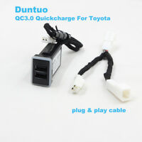 QC3.0 Quickcharge Car Charger Dual USB Phone DVR Adapter Plug&Play For Toyota