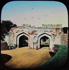 Glass Magic Lantern Slide DELHI INSIDE THE CASHMERE GATE C1880 PHOTO INDIA