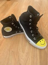 RARE Converse All Star Black Smiley Face Hi Top Trainers Shoes UK 6 US 8 EUR 39