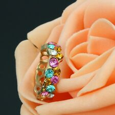 Korean Style Gold Plated Colorful Crystal Rhinestone Flower Band Ring Jewelry #5
