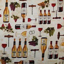 BonEful Fabric FQ Cotton Quilt Cream Fleur De Lis Grape Fruit Wine Bottle Opener