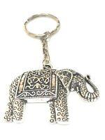 Elephant Keyring Bag Charm ORNATE SILVER ,Elephants Keyrings FREE GIFT BAG UK
