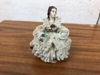 Vintage 1930's Dresden Dec Gevinoiuy Lady in Lace White Dress Ornament Figurine