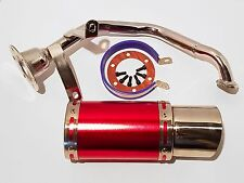 Red 150cc Scooter Performance Exhaust and Stubby Racing Muffler - 157QMJ