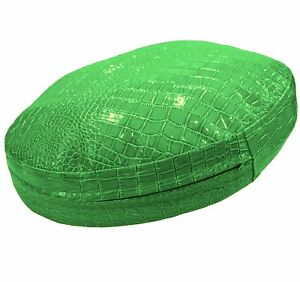 pd1017r Lime Round Faux Crocodile Glossy Leather Cushion Cover Custom Size