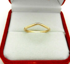 Solid 14k Yellow Gold Curved Guard Wedding Band Ring size 7