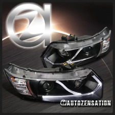 For 2006-2011 Honda Civic 2Dr Coupe Black Projector Headlights LED Head Lamps