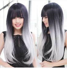 Cosplay Costume Wig Long Wavy Curly Harajuku Style Ombre Wig Black Silver White