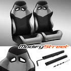 2 X Blackgrey Pvc Leather Leftright Reclinable Racing Bucket Seats Slider