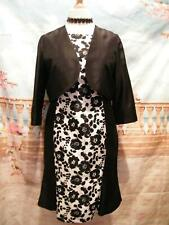 Dress and Bolero Jacket Suit size 14 Occasion Races Wedding Guest Outfit Black/W