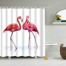 Folk Style Home Polyester Shower Curtain with 12 Hooks Set Flamingo 1