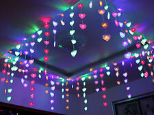 LED String Heart Shape Net Light Fairy Christmas Xmas Wedding Curtain Lamp 220V