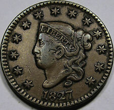 1827 Coronet Head Large Cent... Choice AU+Brown  Nice Antique Toning, Pleasing!!