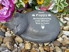 Cat Memorial - Sleeping Cat - Personalised - Weatherproof - Perfect in Garden