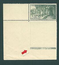 ESPAÑA 1952 EDIFIL 1111** ESQUINA DE PLIEGO VARIEDAD DE TRANSFERIDO