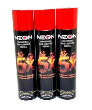 Neon 5X Butane 300ML Fuel 3 Pack (cans) - Premium Univerasl Gas Lighter Refill