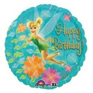"Tinkerbell ""Happy Birthday"" Foil Balloon 45cm - Tinkerbell Party Supplies"