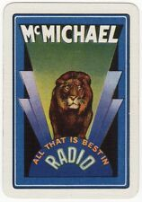 Playing Cards 1 Swap Card Vintage Wide Art Deco Advertising McMICHAEL Radio LION