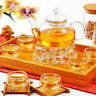 Chinese Gongfu Glass Tea Pot Set With Infuser Filter Tea Light Warmer 6 Cups