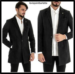cappotto trench giacca giaccone da uomo elegante invernale nero slim fit 46 48