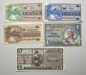 Military Payment Certificates Series 661 5C, 10C, 25C $1 and $5