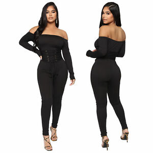 Sexy Stylish Women Long Sleeves Off Shoulder Bandage Patchwork Jumpsuit Romper