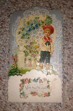 Vintage Valentine Card pop-up multi-layer 1909 small honeycomb boy in garden