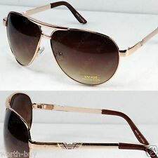 New Metal Frame Classic Mens Womens Sunglasses Shades Fashion Gold Brown Pilot