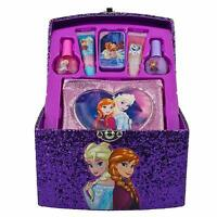Frozen Anna and Elsa Glitter Train Case Cosmetic Set, Polish, Gloss, and More!