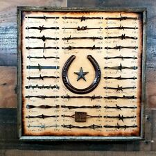 Rustic Antique Barbed Wire Display with Horse Shoe Barn Wood Framed